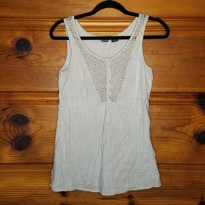 Eddie Bauer 100% Cotton Cream Lace Tank Size Small